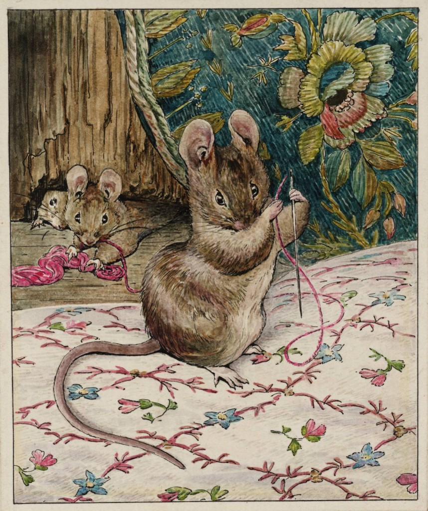 The Mice at Work: Threading the Needle circa 1902 by Helen Beatrix Potter 1866-1943